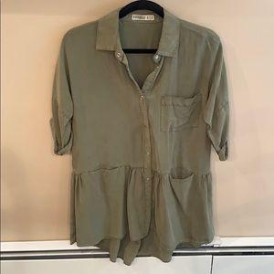Zara Basic Green Denim Dress Size Small